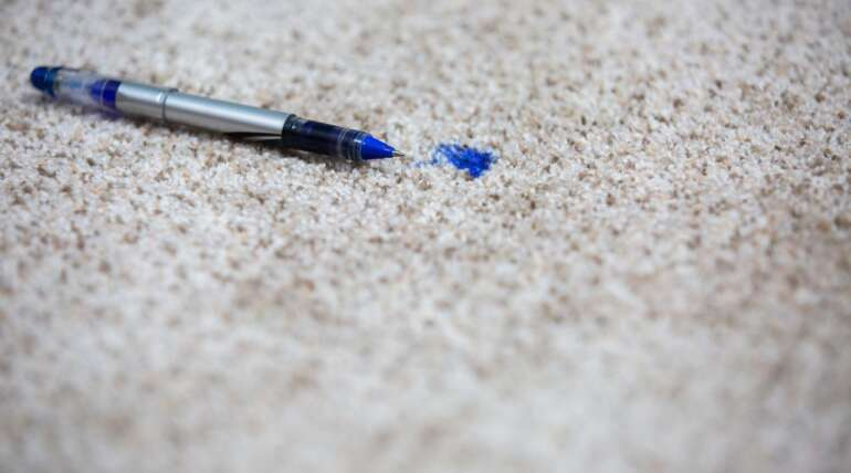 Removing ink stains from carpet